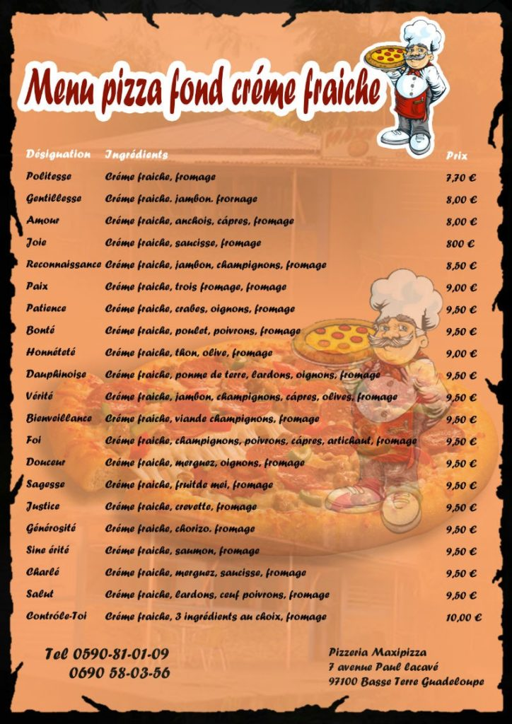 Menu pizza crème fraiche